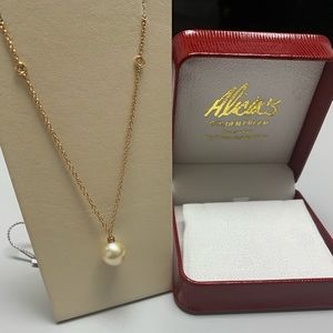 Jewelry - 18K Rose Gold Pearl Diamond Necklace